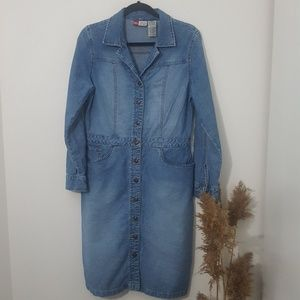 Vintage Denim Long Sleeve Button Down Dress
